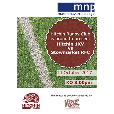 1XV Cup tie vs Stowmarket RFC: saturday 14 Oct