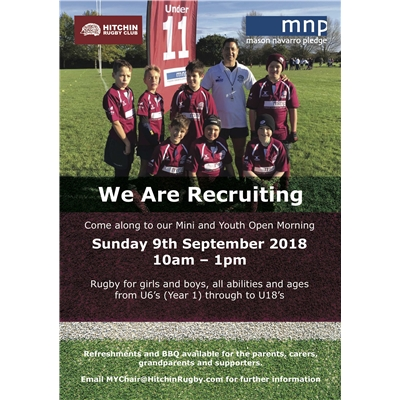 Mini and Youth open-day: Sunday 9 Sept 2018