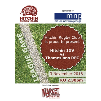 1XV vs Thamesians: Sat 3 Nov