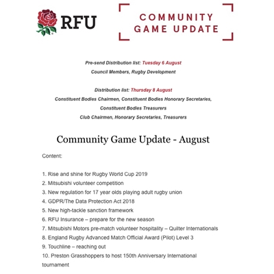 RFU Community Game: August 2019 newsletter