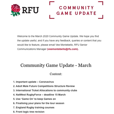 RFU Community Game Update: March 2020