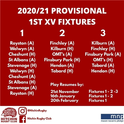 Mens 1XV fixtures announced
