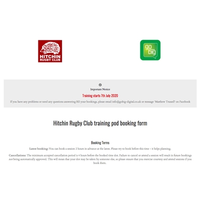 Senior Rugby - book your slot for a training 'bubble'
